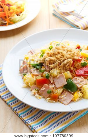 Thai Food Fried Rice With Ham, And Pineapple.