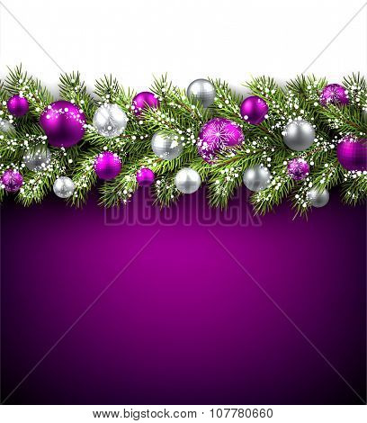 Purple card with fir branch and balls. Vector paper illustration.