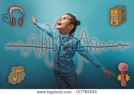 girl smiling and simulates the flight of the sound wave music ra