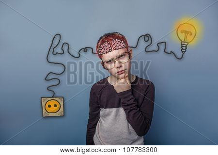 Teenage boy in glasses holding hand on chin and thinking brain b
