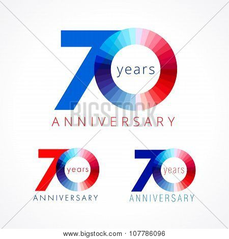 70 years old celebrating colored logo. Anniversary numbers 70 th. Shining congratulating logotype. Greetings celebrates set red, blue, white colors. Stained digit  seventy, 0, % off isolated template. poster