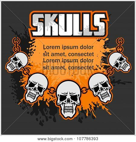 Necklace of skull - template for designs.