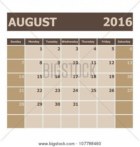 Calendar August 2016, Week Starts From Sunday