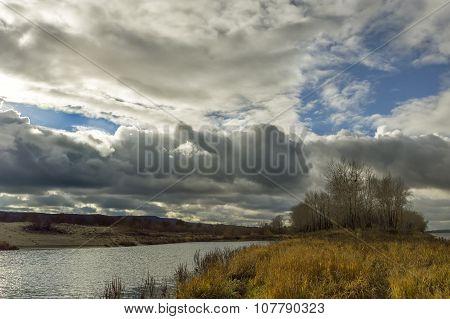 autumn river island.