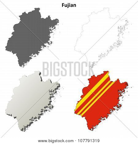 Fujian blank outline map set