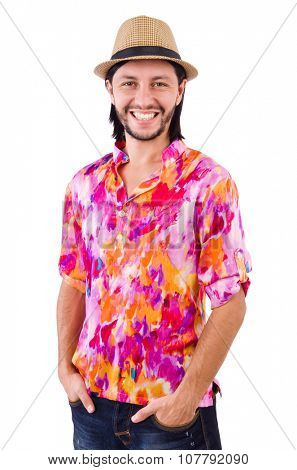 Man in pink shirt and hat isioalted on white