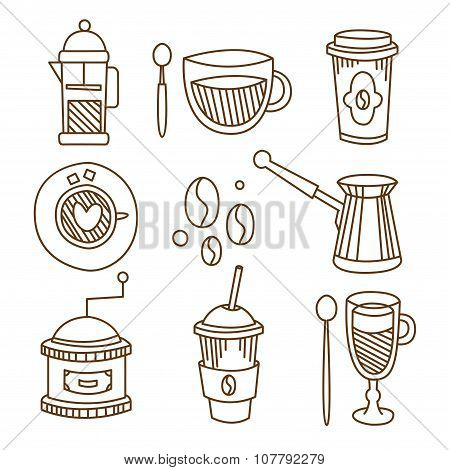 Coffee Elements Handdrawn Set. Vector Illustration.