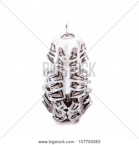 Carved Candle Isolated On White Background