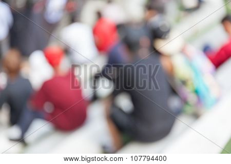 Abstract Blurred Background Of Young Teenager Watching B-boy Street Dance.