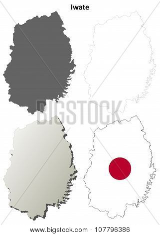 Iwate blank outline map set
