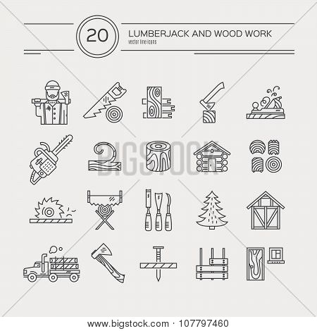 Timber industry icon collection - vector set. Modern line style collection of woodwork tools carpentry gear. Unique and modern set isolated on background. poster