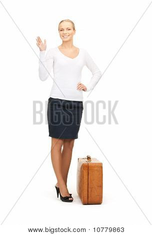 Beautiful Woman With Brown Suitcase