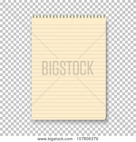 Photorealistic Vector Yellow Notepad Isolated on Transparent Bac