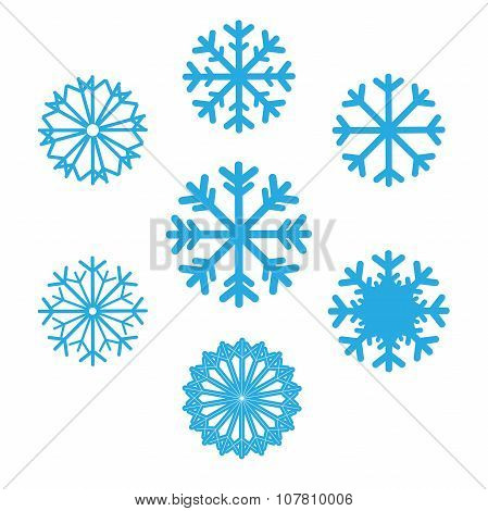Set Of Snowflakes Vector Icons