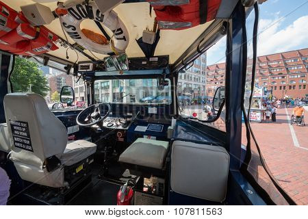 USA, BOSTON -  05 SEP, 2014: Cabin of amphibia car with life-jackets and lifering.