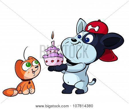 cute cat and puppy dog birthday