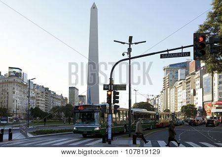 BUENOS AIRES, ARGENTINA - June 28: The Obelisk (Obelisk E), the most Recognized landmark in the capital on 28 Apr 2015 in Buenos Aires, Argentina.