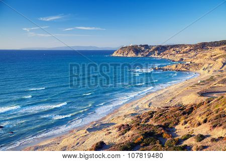 Atlantic Ocean coast in summer. Coastal landscape of Gibraltar strait Morocco poster