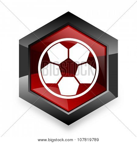 soccer red hexagon 3d modern design icon on white background