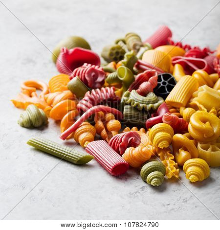 Handmade Pasta variety of different colors and shapes