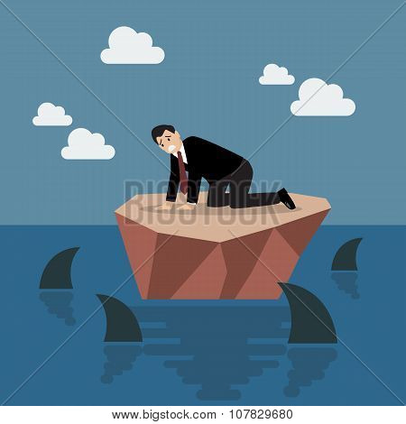 Helpless Businessman On A Small Island Which Surrounded By Sharks