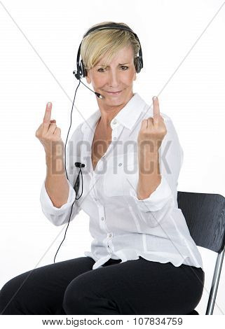 Manager Woman With The Headsets Doing Midle Finger