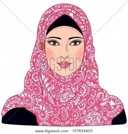 Muslim Girl Dressed In Pink-white Hijab.