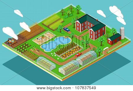Isometric 3d Icon Flat Farm Agriculture