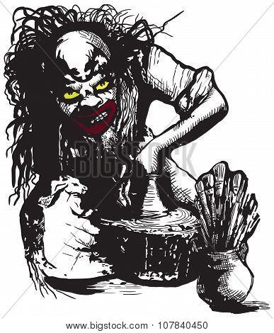 Potter, Creator, Clown - Vector Freehand Illustration
