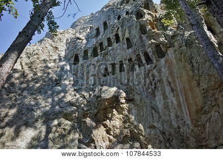 Antique Thracian Sanctuary Eagle Rocks near town of Ardino, Kardzhali Region, Bulgaria poster