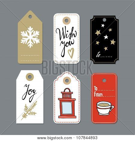Set Of Cute Christmas Gift Tags, Labels, Hand Drawn Illustrations, Flat Design
