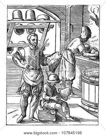 The hatter in the sixteenth century, after the woodcut J Amman, vintage engraved illustration. Industrial encyclopedia E.-O. Lami - 1875.