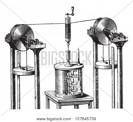 Joule apparatus for determining the mechanical equivalent of heat, vintage engraved illustration. Industrial encyclopedia E.-O. Lami - 1875.