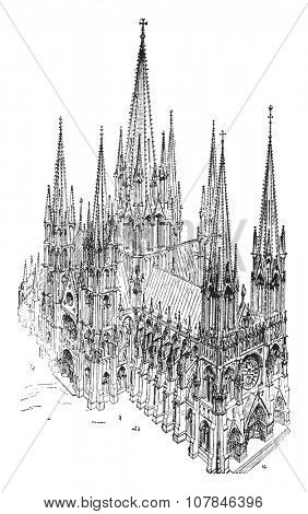 A cavalier view of the thirteenth century Cathedral, built entirely after the type adopted in Reims, vintage engraved illustration. Industrial encyclopedia E.-O. Lami - 1875.