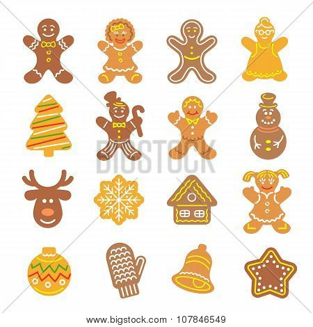 Christmas Cookies Flat Icons Set