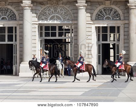 Horse Riders On The Armory Square, Madrid