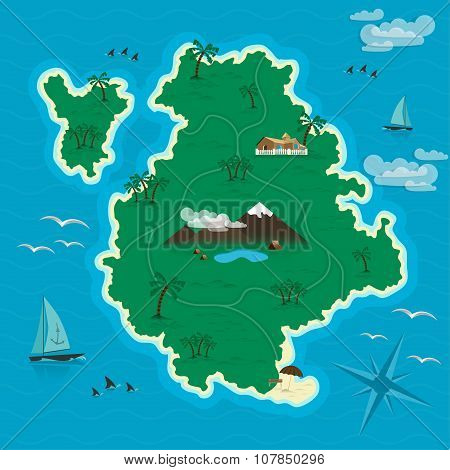 Tropical island in the blue sea. Vector