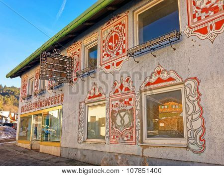 GARMISCH-PARTENKIRCHEN GERMANY - JANUARY 06 2015: Beautiful pattern on the facade of the house in Garmisch-Partenkirchen. It is a mountain resort in Bavaria Germany in the heart of the Alps