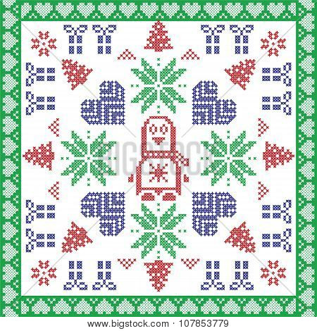 Scandinavian Nordic winter cross stitch, knitting  Christmas pattern in  square, tile  shape including snowflakes, stars, Christmas gifts, christmas trees, penguin,  and decorative elements poster