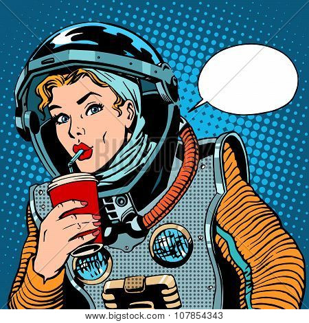 Female astronaut drinking soda pop art retro style poster
