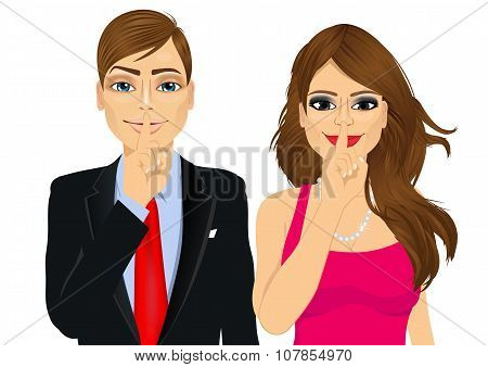 portrait of handsome businessman and attractive woman making silence or secret hand gesture with finger on their lips poster