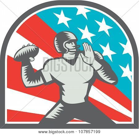American Football Quarterback Qb Usa Flag Woodcut