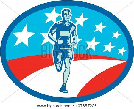 Illustration of a marathon runner viewed from front set inside oval shape with usa flag stars and stripes in the background done in retro woodcut style. poster
