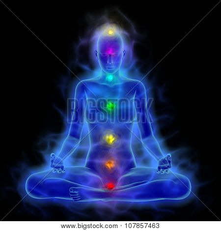 Human energy body aura chakra in meditation