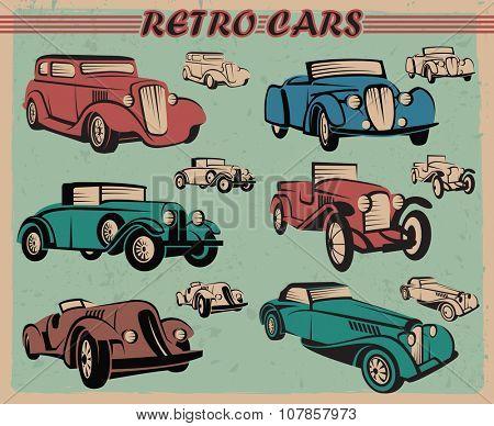 set of six different color retro cars