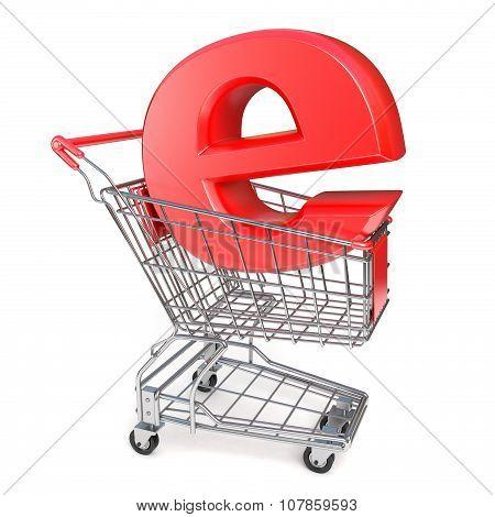 Shopping cart and E symbol. E-shop concept. 3D render