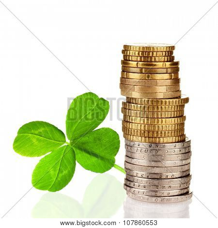 Clover leaf and euro coins isolated on white