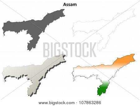 Assam blank detailed outline map set