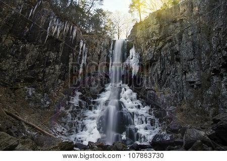 Waterfall On A Mountain In The Forest