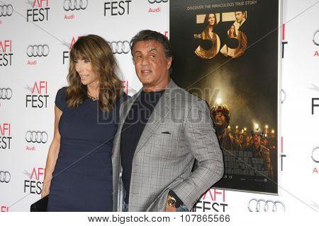 LOS ANGELES - NOV 9:  Jennifer Flavin, Slyvester Stallone at the AFI Fest 2015 Presented by Audi -